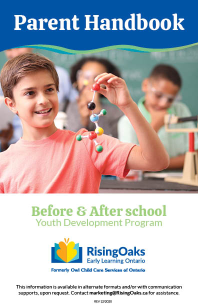 Handbook cover for before and after school programs at WRDSB locations